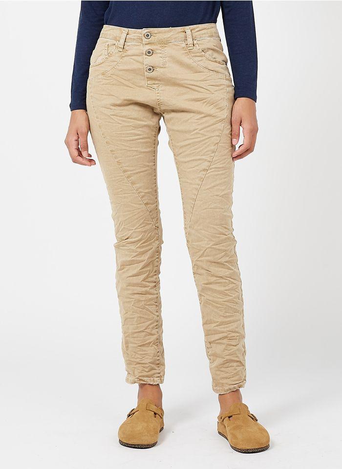 PLEASE Boyfriend-Jeans mit mittelhohem Bund in Beige