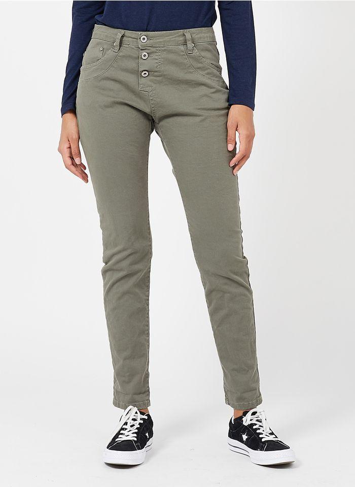 PLEASE Boyfriend-Jeans mit mittelhohem Bund in Grau