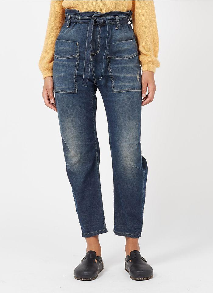 PLEASE Stone Washed Straight Cut Jeans mit hohem Bund