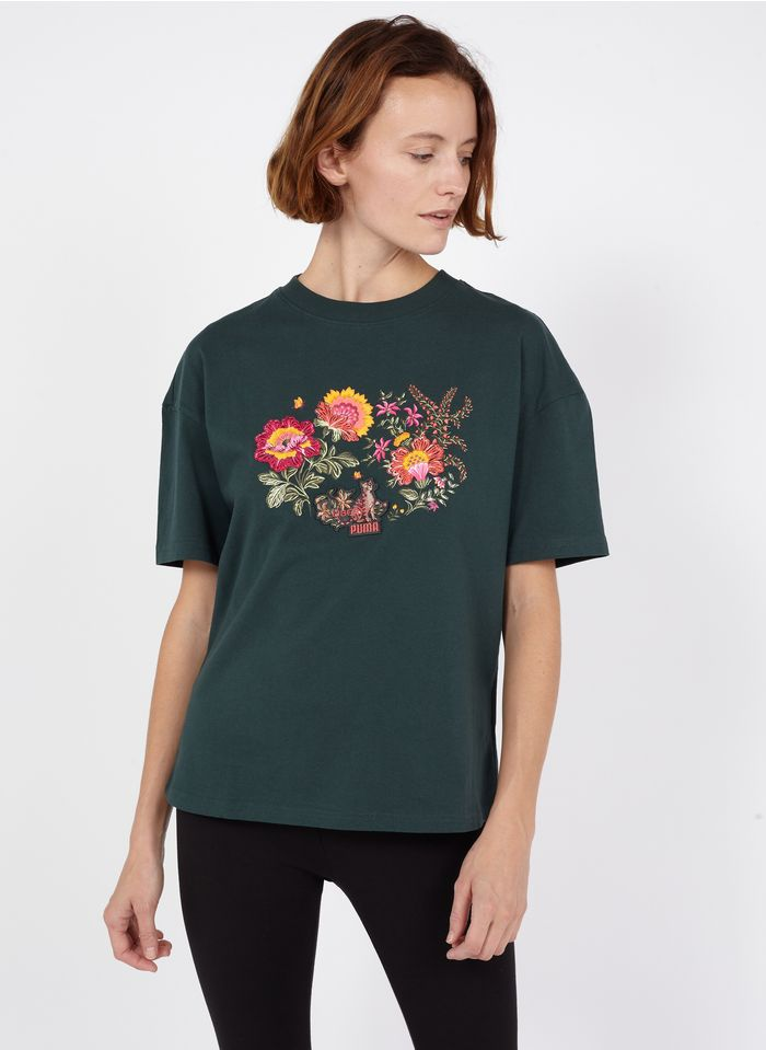 PUMA Rundhals-T-Shirt aus Baumwolle mit Blumenstickerei in Grün