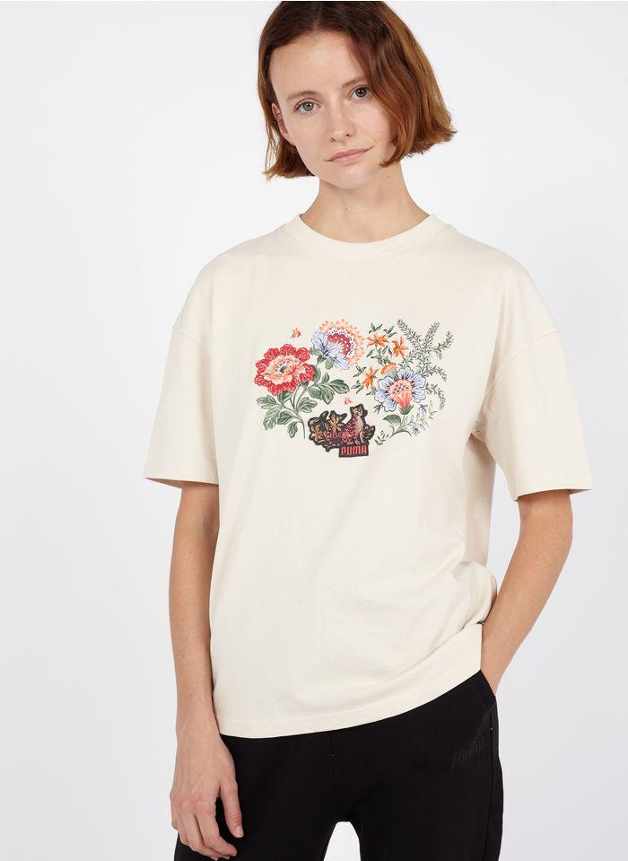 PUMA Rundhals-T-Shirt aus Baumwolle mit Blumenstickerei in Weiß