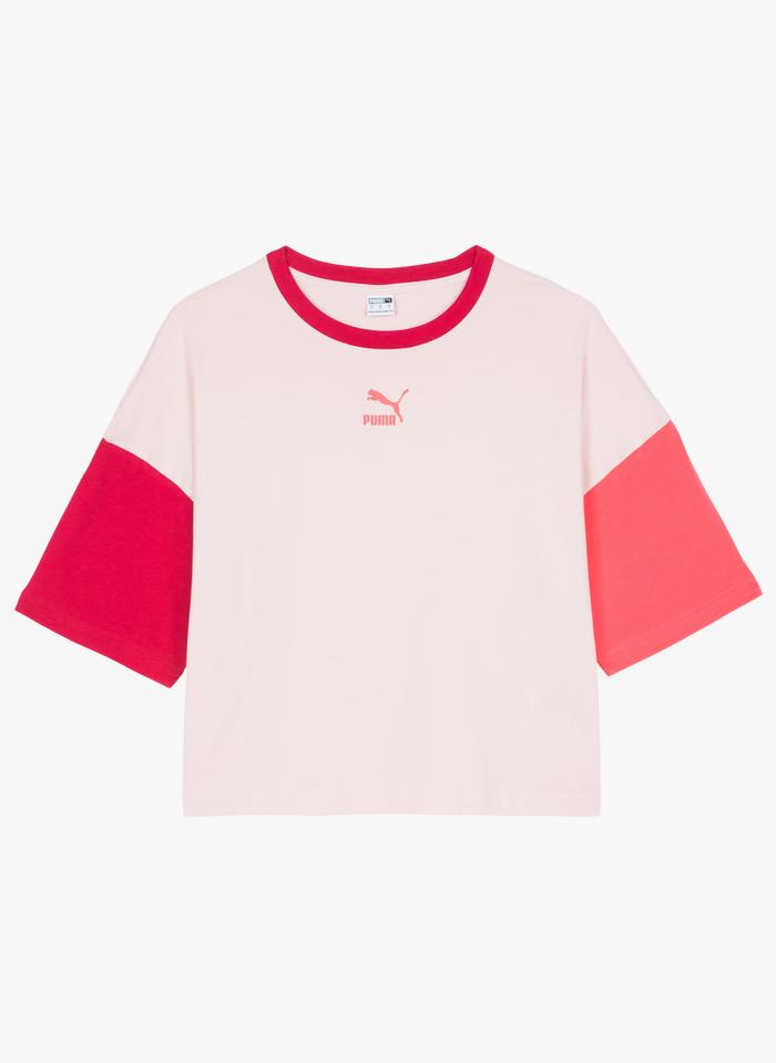 PUMA Weites Rundhals-T-Shirt aus Baumwolle in Weiß