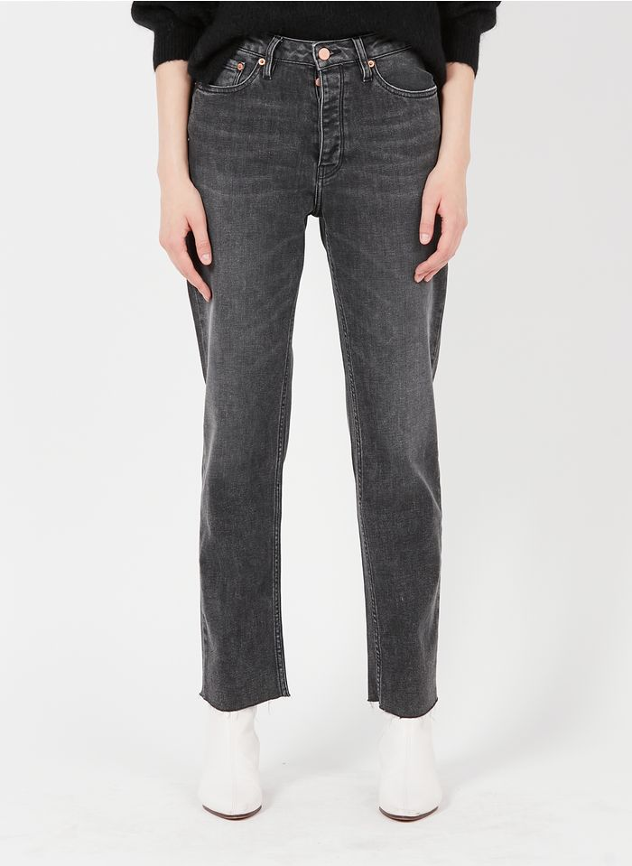 REIKO Cropped Jeans Stone Washed aus recyceltem Baumwoll-Mix in Bleached Jeans