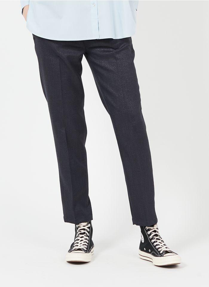 REIKO Gerade geschnittene Hose mit Metallic-Garn in Blau