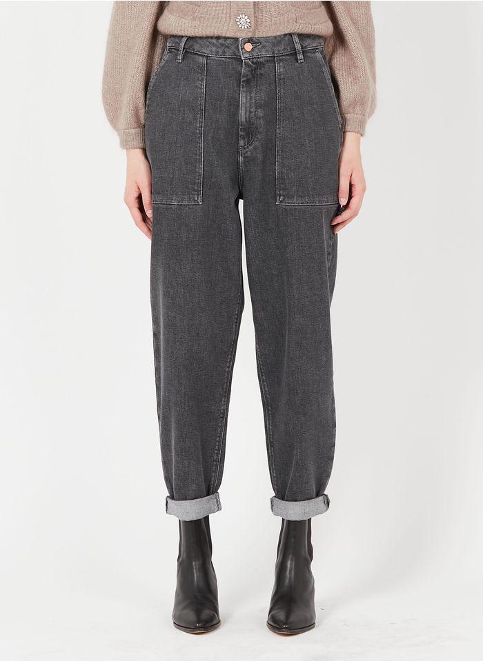 REIKO High Waist Boyfriend-Jeans in Grau