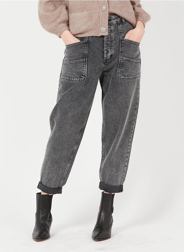 REIKO High Waist Straight Cut Jeans aus Bio-Baumwoll-Mix in Grau