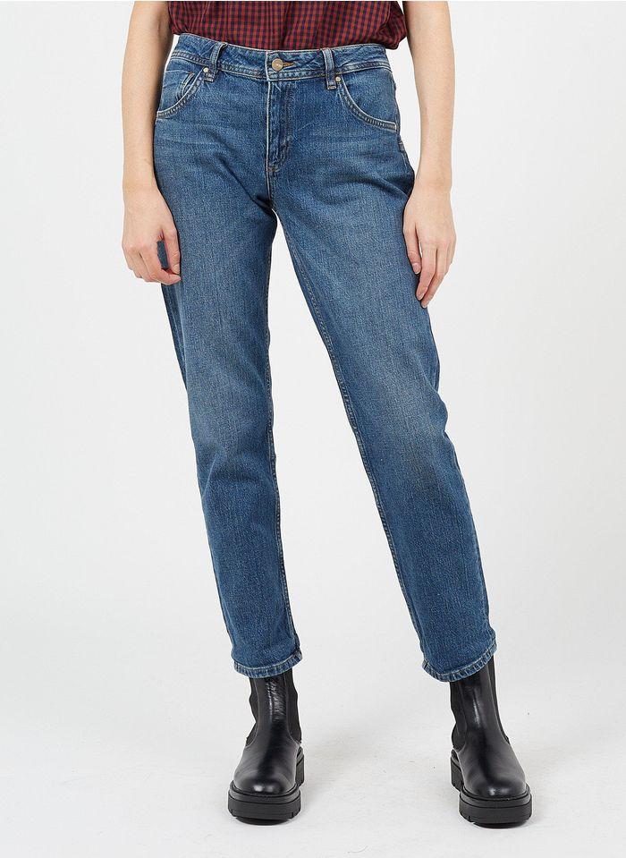 REIKO High Waist Straight Cut Jeans in Blau