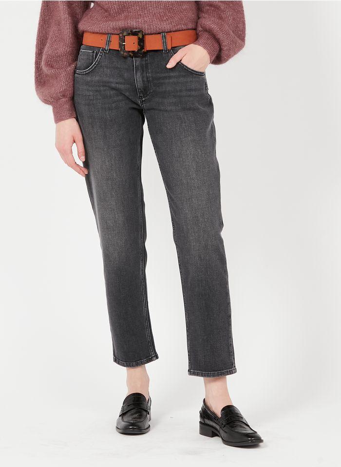 REIKO High Waist Straight Cut Jeans in Grau