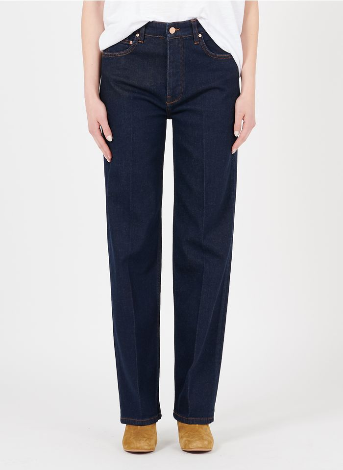 REIKO High Waist Straight Cut Jeans in Jeans ohne Waschung