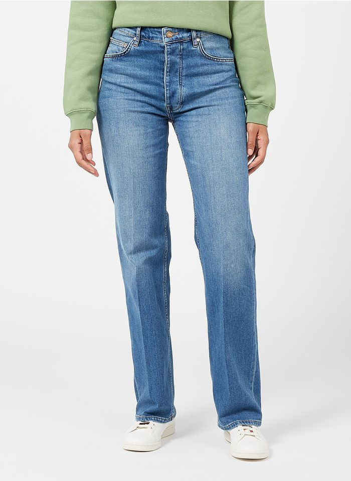 REIKO High Waist Straight Cut Jeans in Stone-bleached Jeans