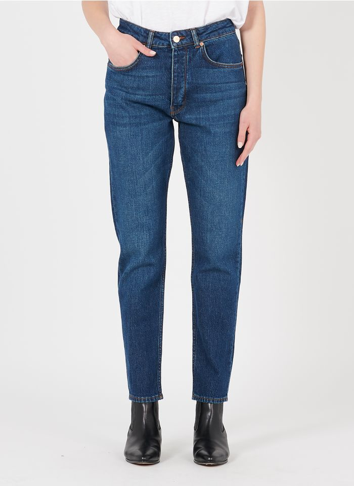 REIKO Mom-Jeans aus Bio-Baumwoll-Mix in Blau