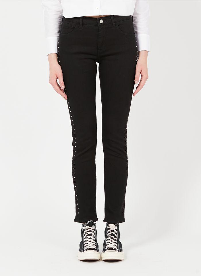 REIKO Skinny Jeans mit Nieten in Schwarz