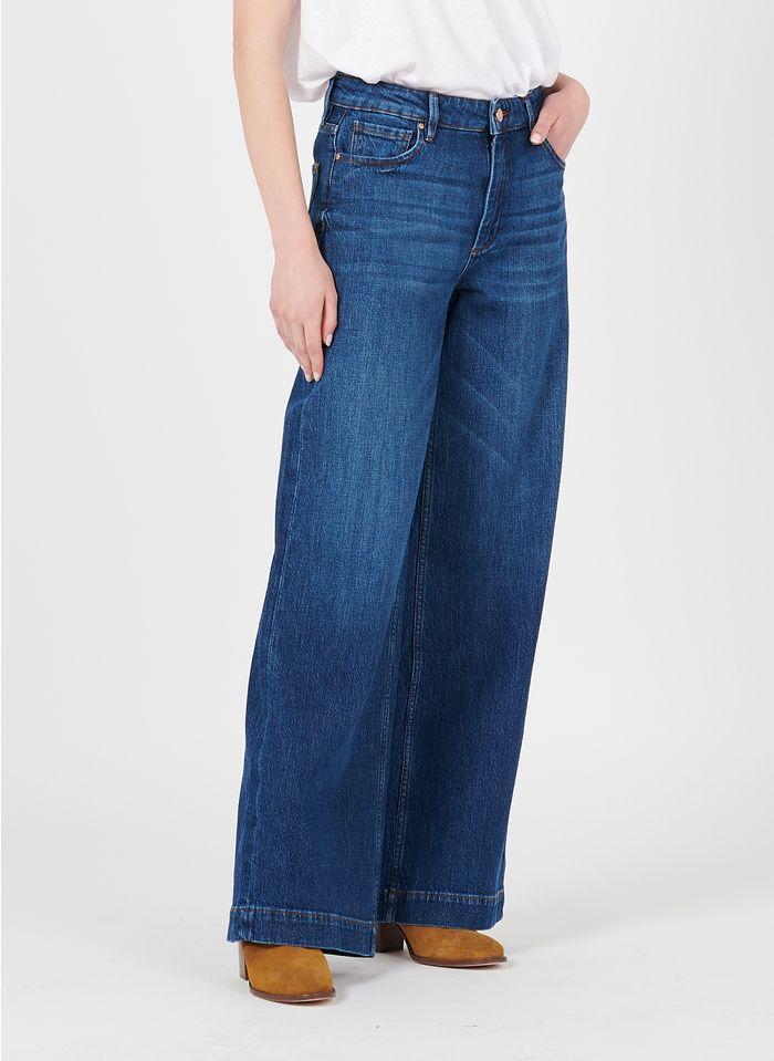 REIKO Weite High Waist Jeans in Blau