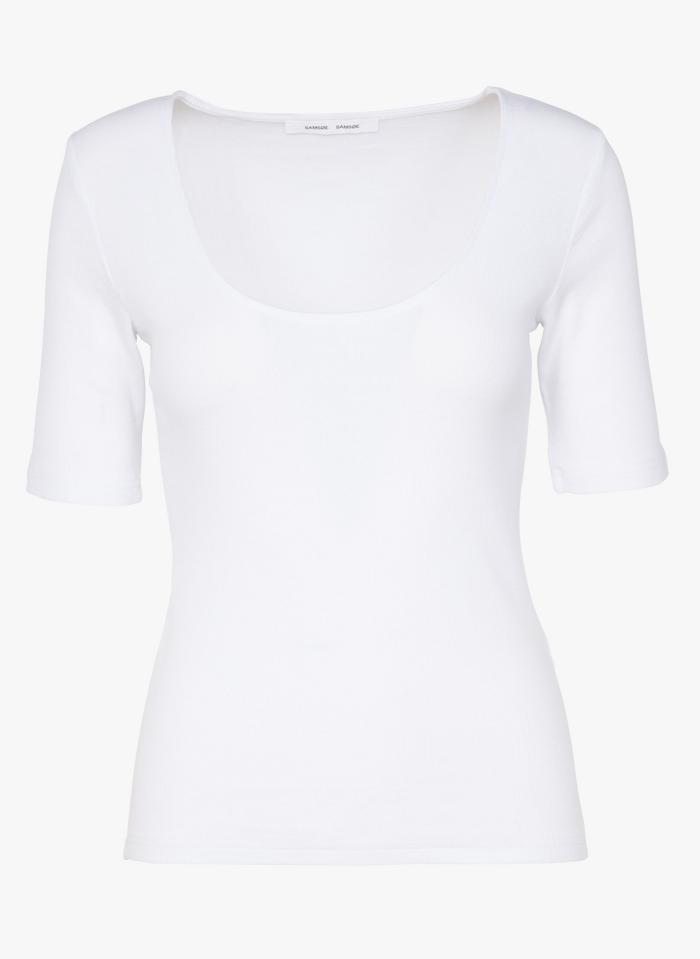 SAMSOE SAMSOE Rundhals-T-Shirt aus Bio-Baumwolle in Weiß