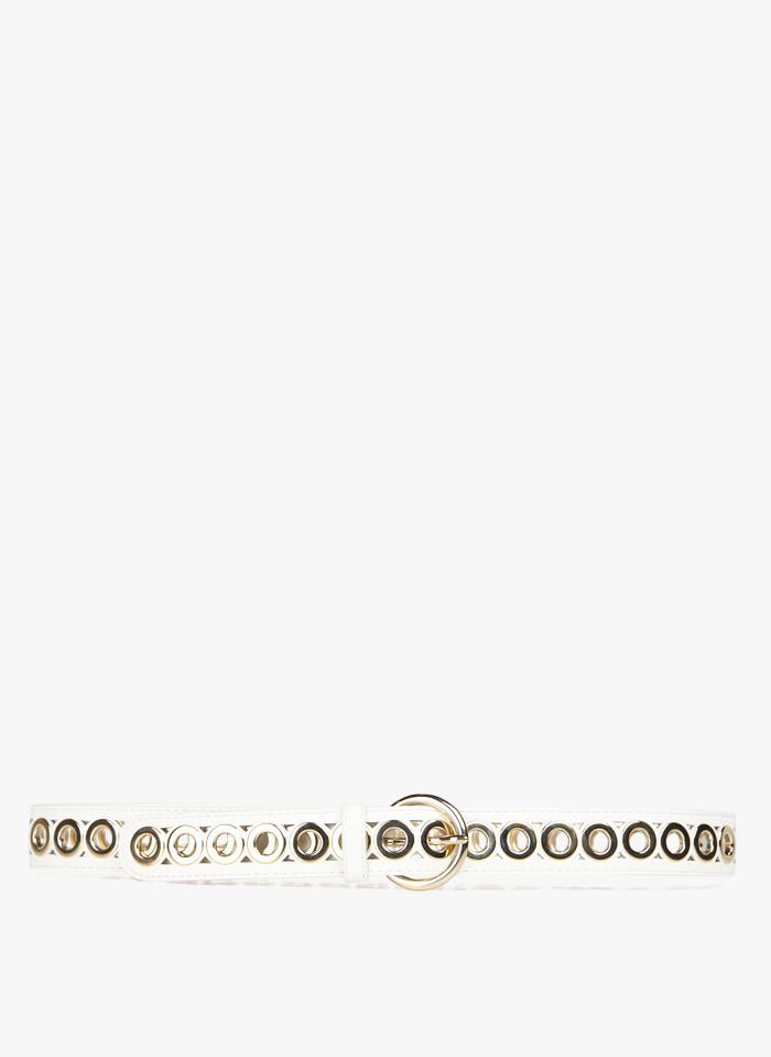SANDRO Ledergürtel mit Ösen in Weiß
