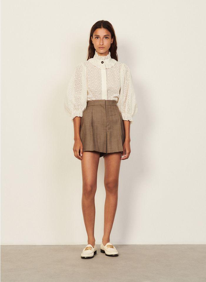 SANDRO Shorts aus Wollmix in Beige