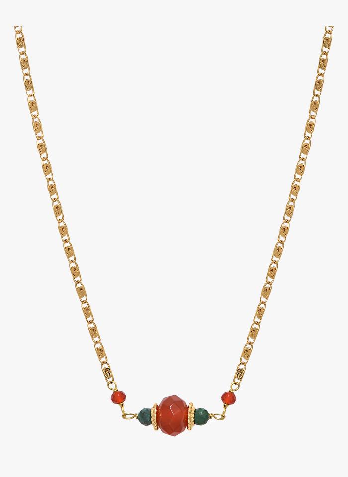 SATELLITE PARIS Halskette mit Anhänger in Orange