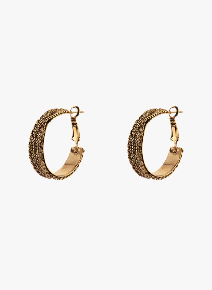 SATELLITE PARIS Kreolen aus geflochtenem Metall in Golden