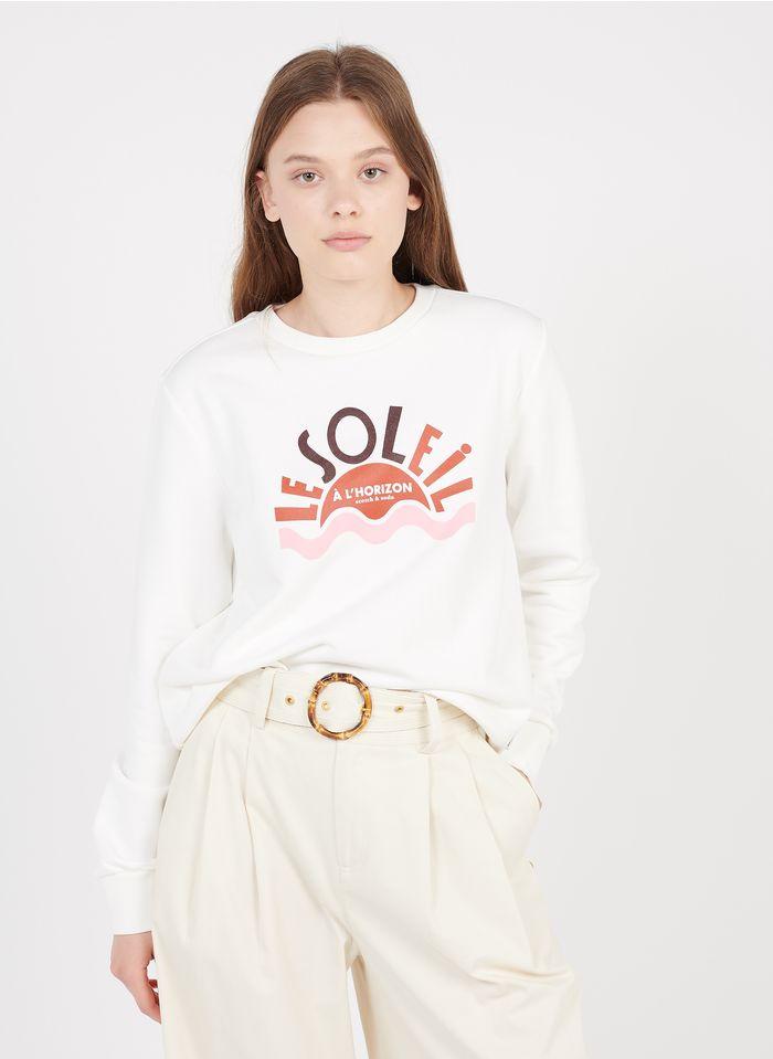 SCOTCH AND SODA Rundhals-Sweatshirt aus Baumwoll-Mix mit Siebdruck in Weiß