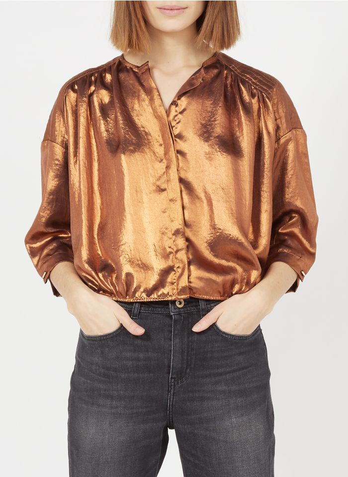 SESSUN Satinierte Bluse mit Rundhalsausschnitt in Golden