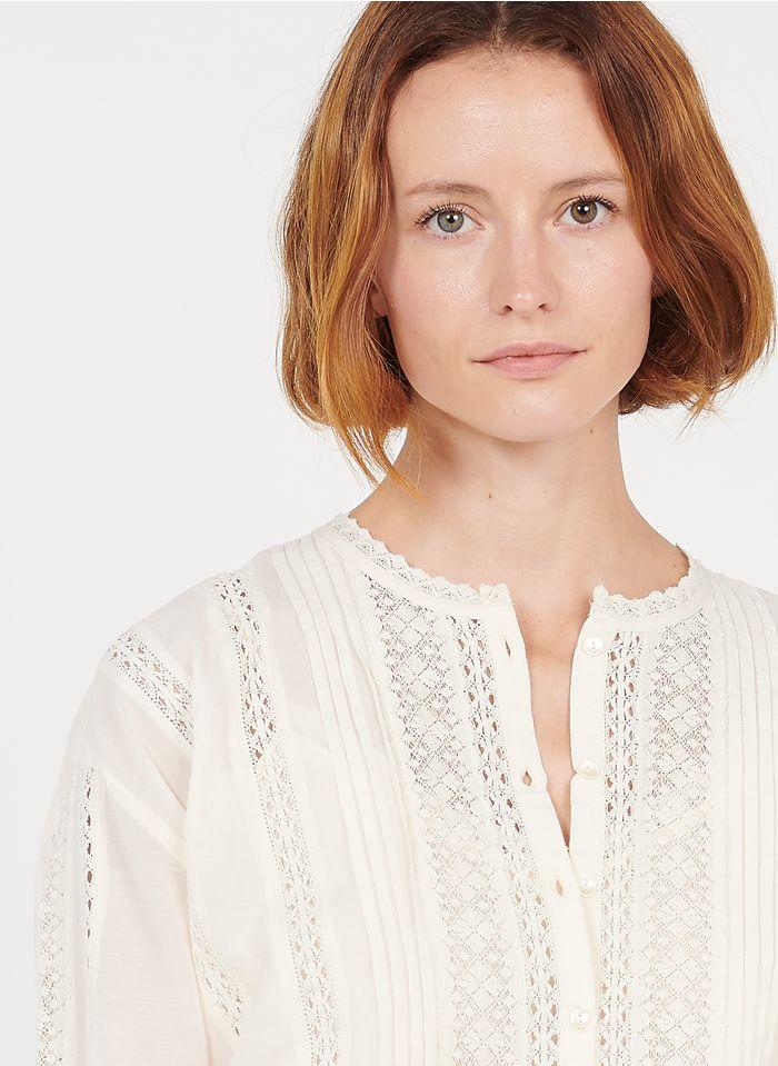 STELLA FOREST Bestickte Bluse mit Rundhalsausschnitt aus Baumwoll-Mix in Beige