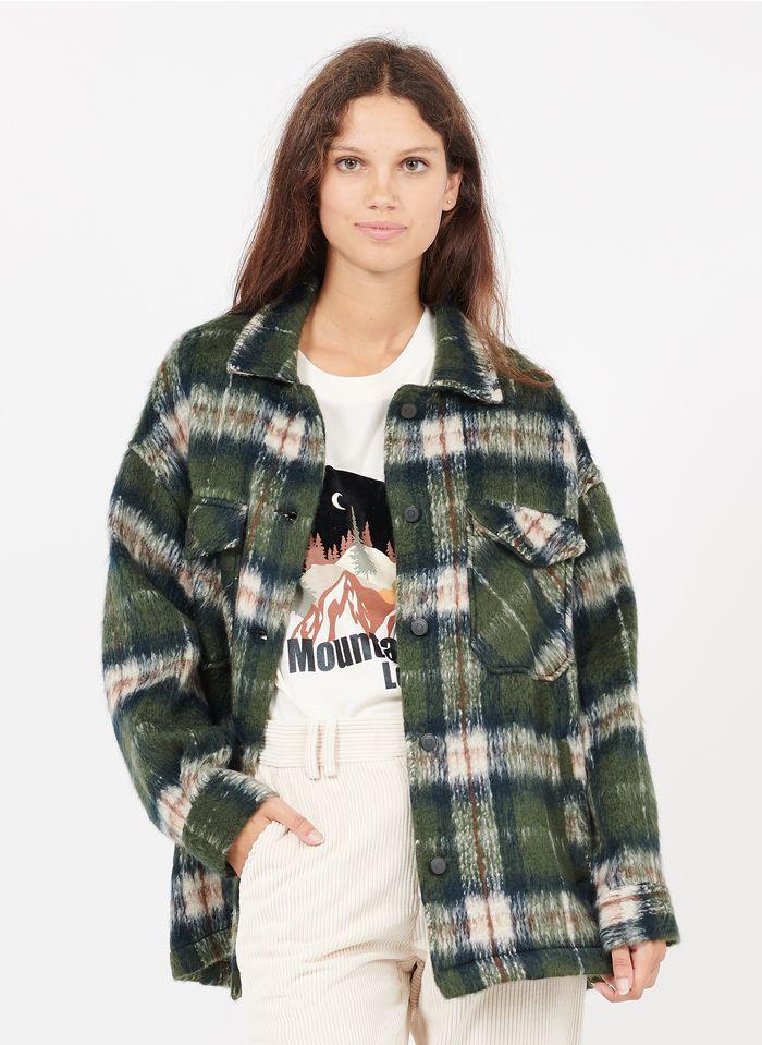 STELLA FOREST Karierte Hemdjacke aus Wollmix mit klassischem Kragen in Grün