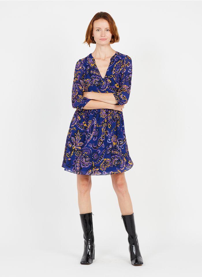 SUD EXPRESS Bedrucktes Kurzkleid mit Henley-Ausschnitt in Violett