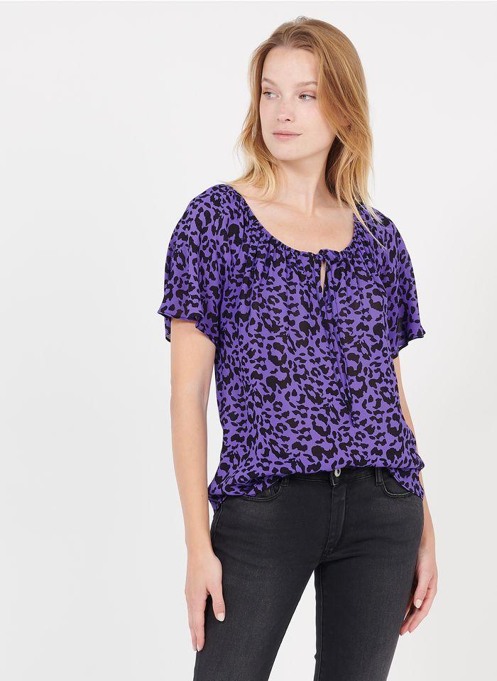 SUD EXPRESS Bedrucktes Rundhals-Top in Violett