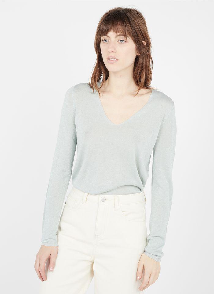 SUD EXPRESS Metallic-Pullover mit V-Ausschnitt in Grün