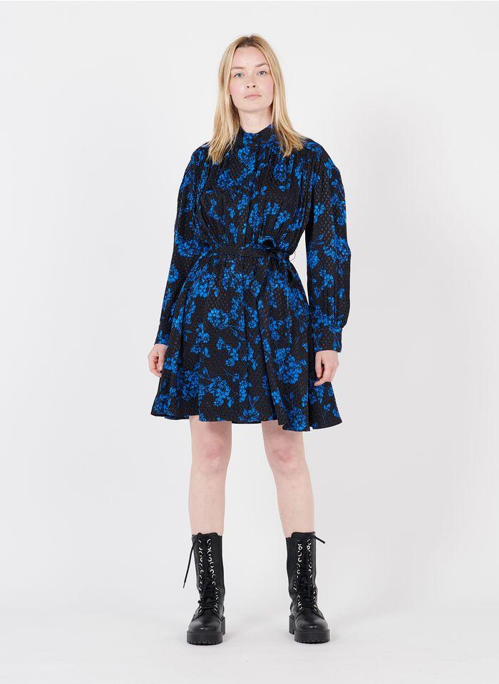 SUNCOO Bedrucktes Kurzkleid mit Stehkragen in Blau