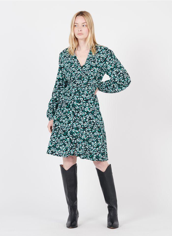 SUNCOO Bedrucktes Kurzkleid mit V-Ausschnitt in Grün