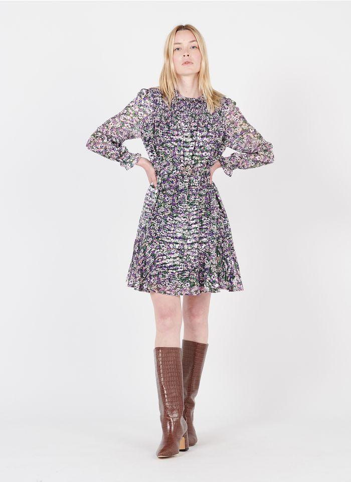 SUNCOO Geblümtes Kurzkleid mit viktorianischem Kragen in Violett