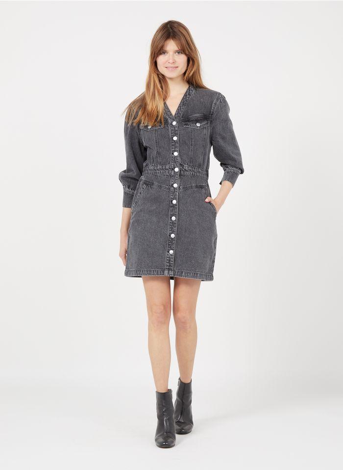 SUNCOO Kurzes Jeanskleid mit V-Ausschnitt in Grau