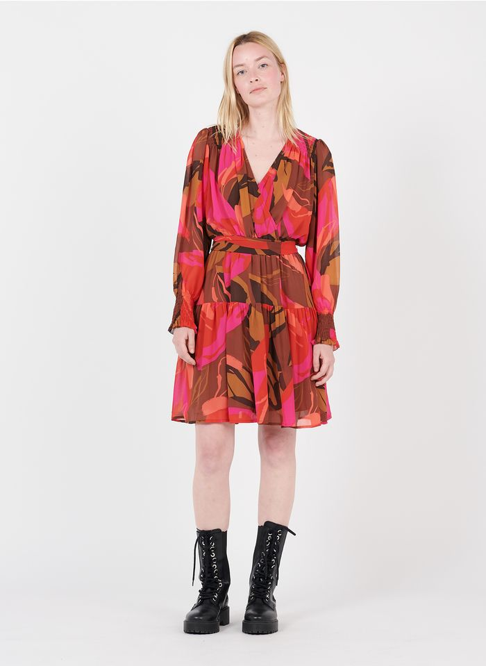 SUNCOO Kurzkleid mit überkreuztem V-Ausschnitt und Print in Rosa