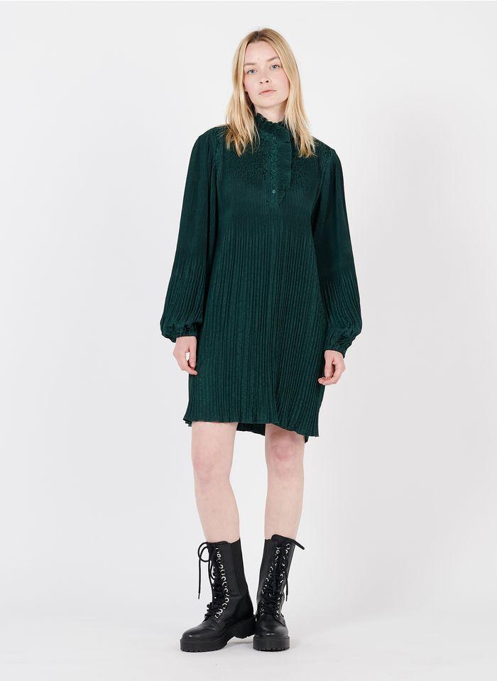 SUNCOO Plissiertes Kurzkleid mit viktorianischem Kragen in Grün