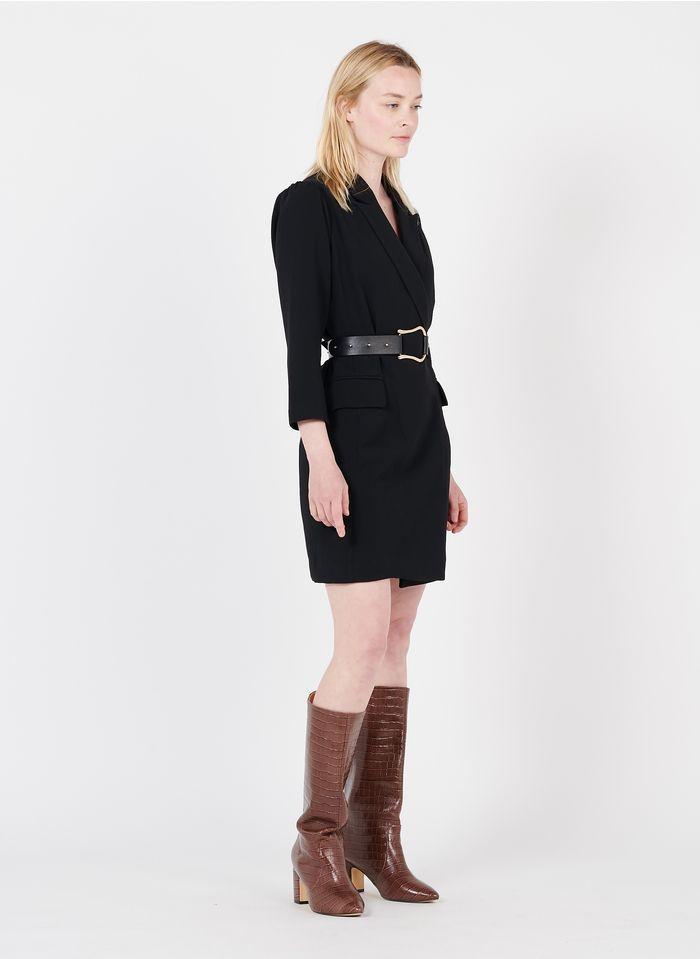 SUNCOO Wickelkleid mit Reverskragen und Gürtel in Schwarz
