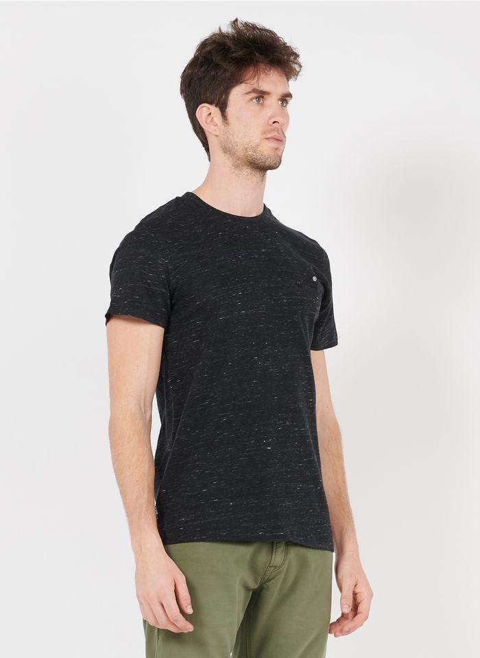 SUPERDRY Besticktes Rundhals-T-Shirt aus Baumwolle, Slim Fit in Grau