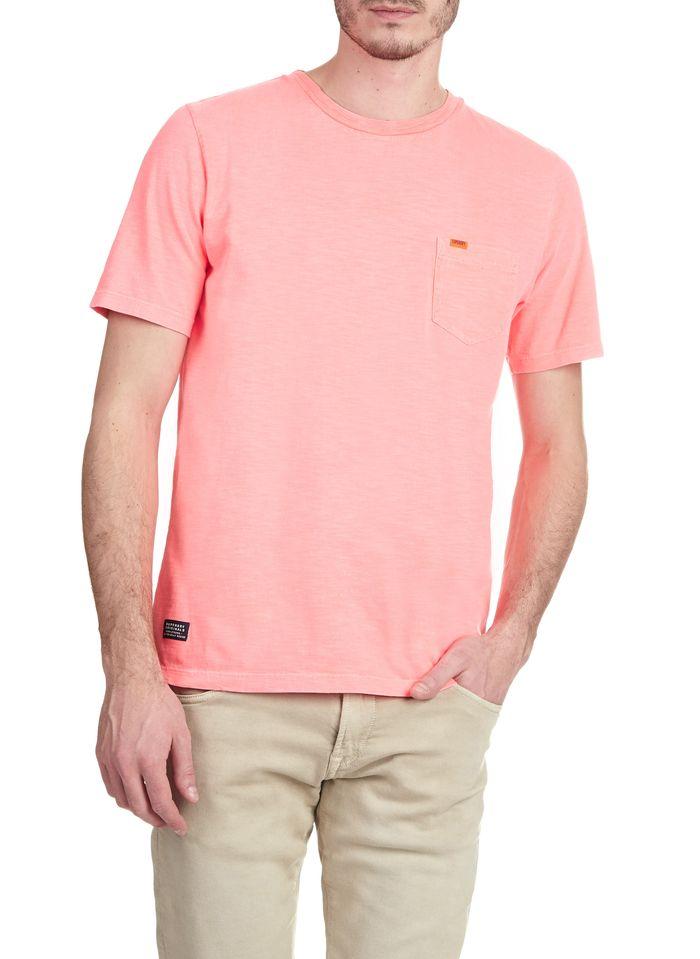 SUPERDRY Slimfit-T-Shirt mit Rundhalsausschnitt und Tasche aus Baumwolle in Rosa