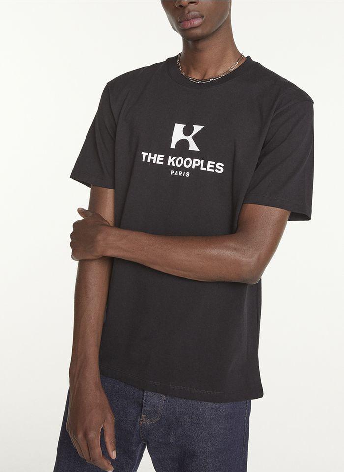 THE KOOPLES Rundhals-T-Shirt aus Baumwolle mit Siebdruck, Regular Fit in Schwarz