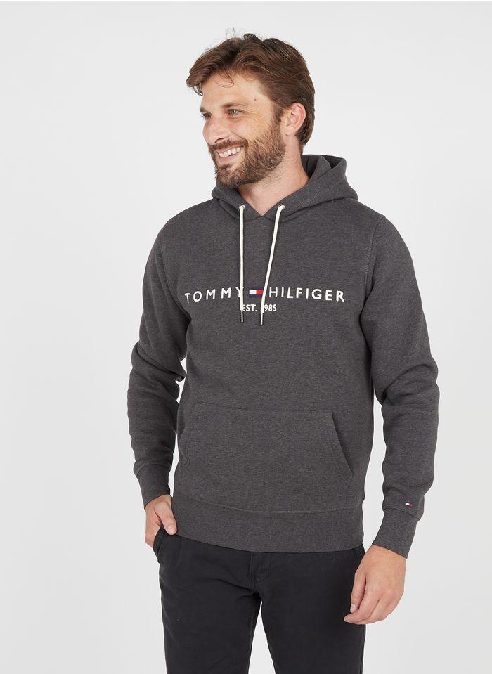 TOMMY HILFIGER Besticktes Kapuzensweatshirt aus Baumwoll-Mix, Regular Fit in Grau