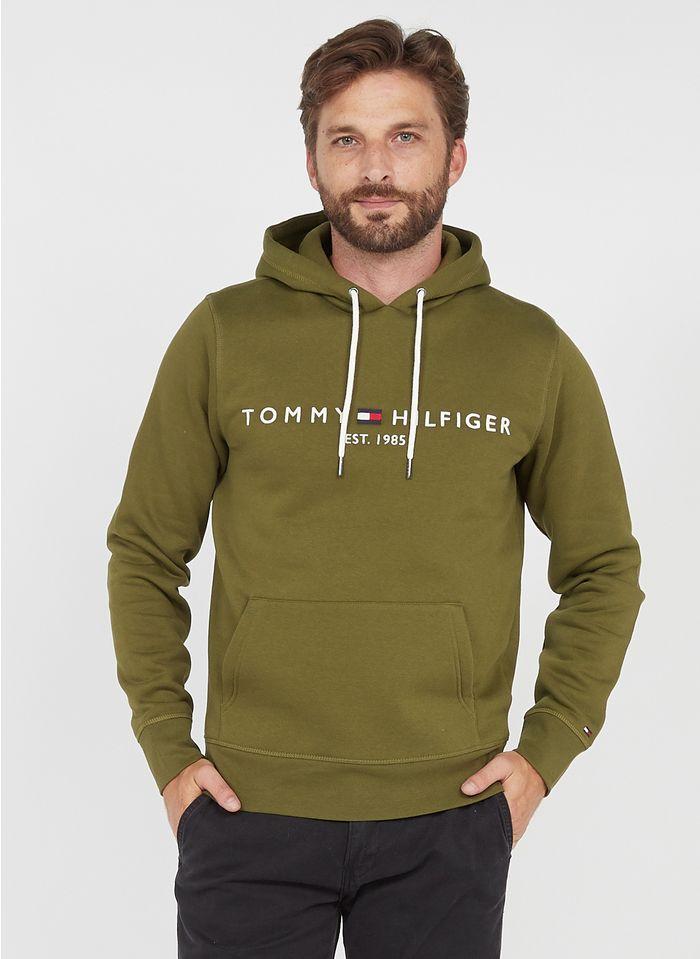 TOMMY HILFIGER Besticktes Kapuzensweatshirt aus Baumwoll-Mix, Regular Fit in Grün