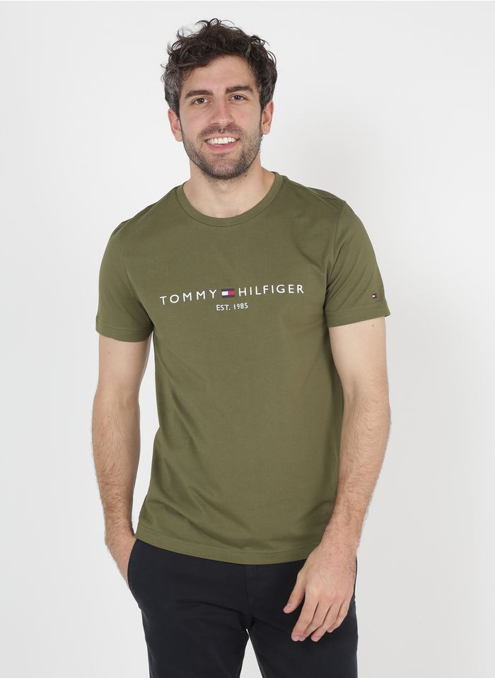 TOMMY HILFIGER Besticktes Rundhals-T-Shirt aus Bio-Baumwolle in Grün