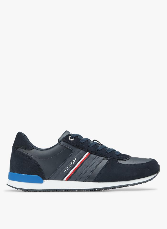 TOMMY HILFIGER Niedrige Ledersneaker in Blau