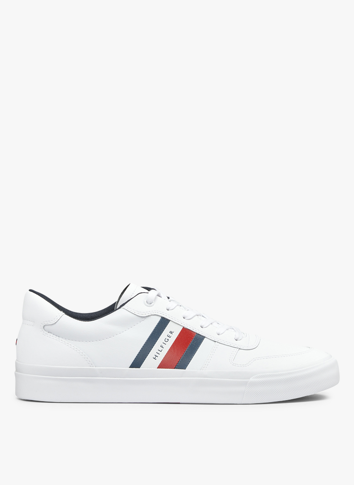 TOMMY HILFIGER Niedrige Sneaker aus Leder-Mix in Weiß