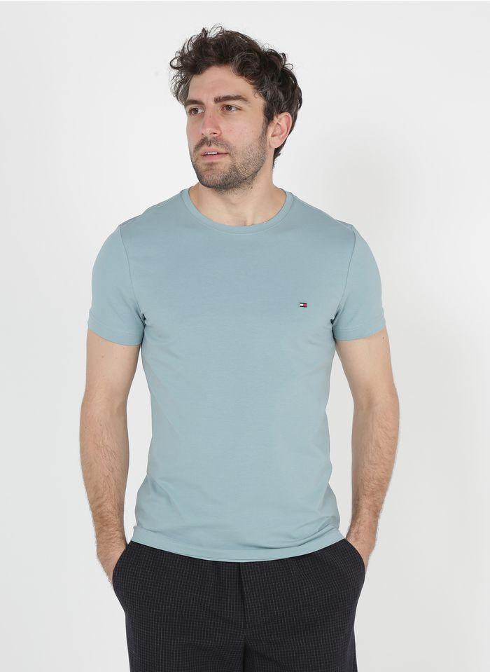 TOMMY HILFIGER Rundhals-T-Shirt aus Bio-Baumwolle, Slim Fit in Blau