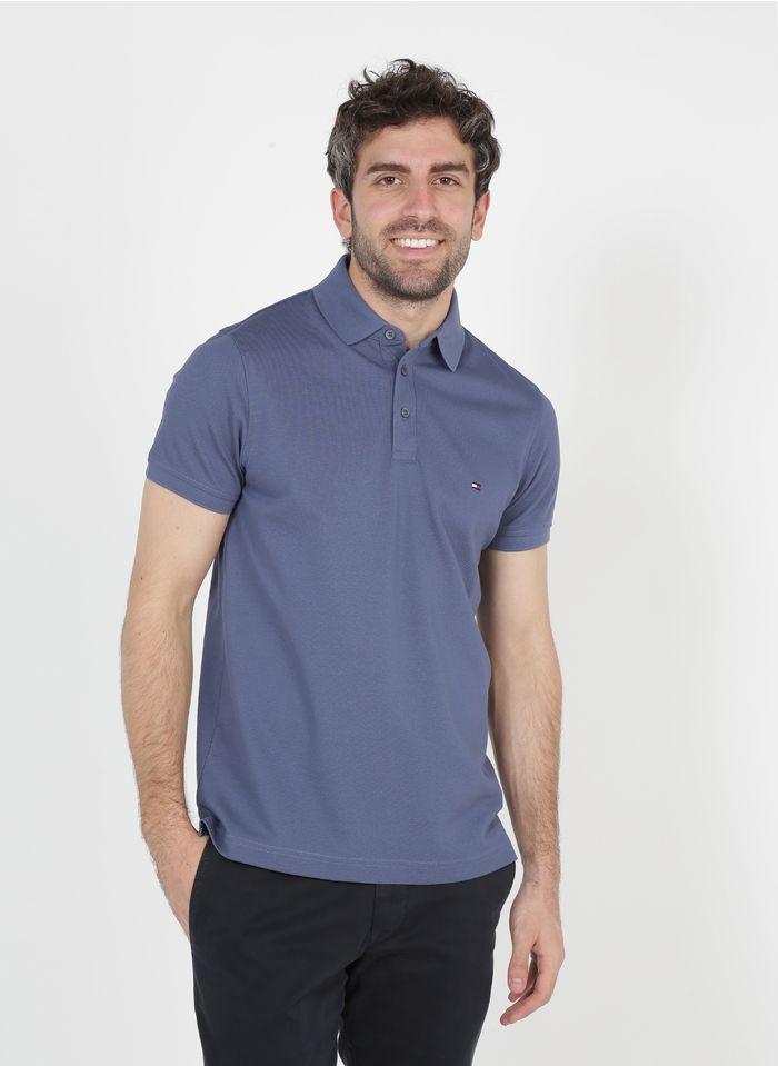 TOMMY HILFIGER Slimfit-Poloshirt aus Bio-Baumwolle in Blau