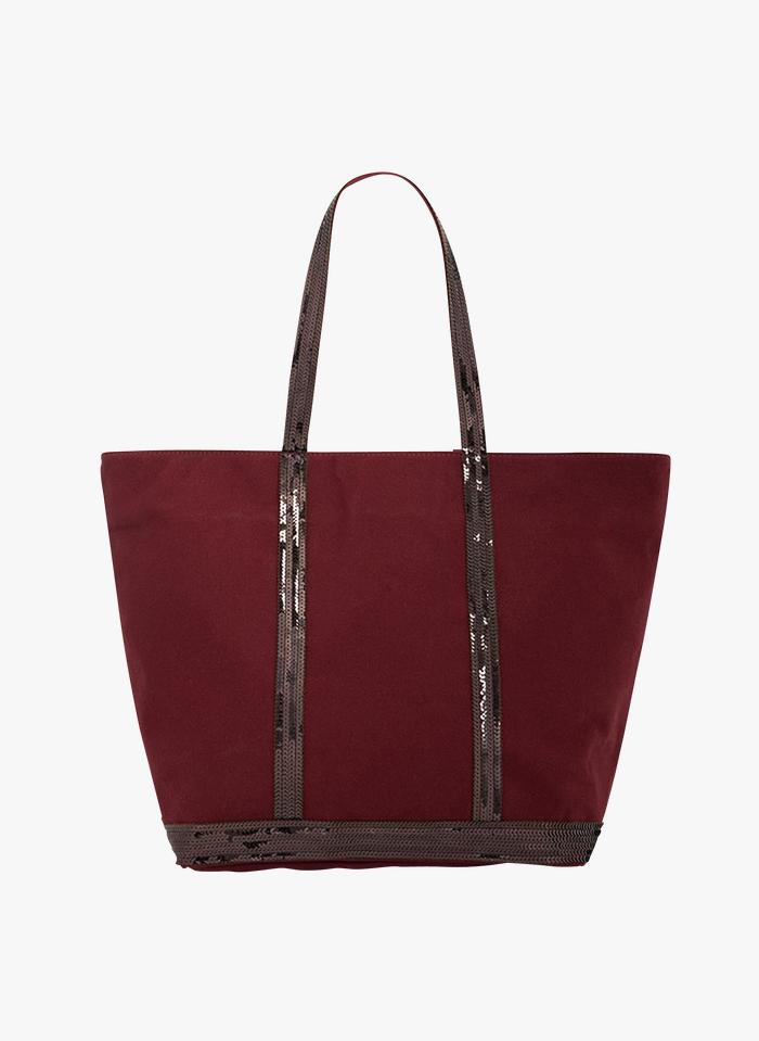 VANESSA BRUNO Mittelgroßer Shopper aus Canvas mit Pailletten in Rot