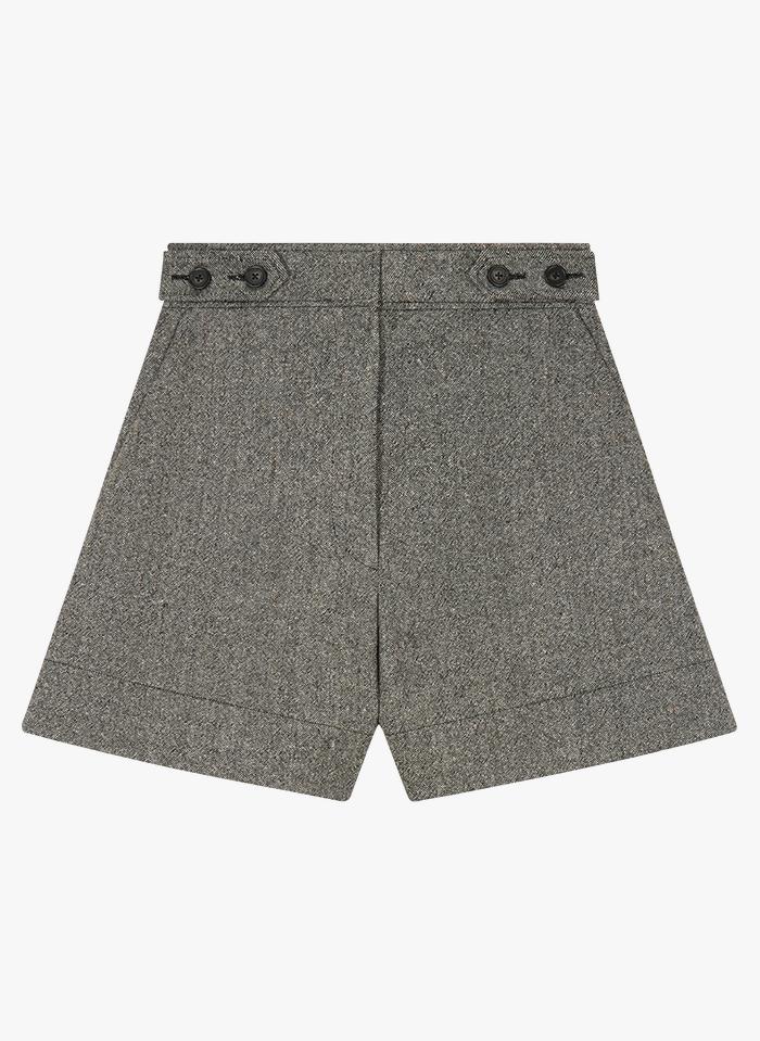 VANESSA BRUNO Taillenshorts aus Wollmix-Tweed in Beige