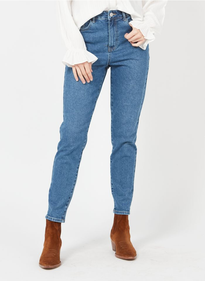 VILA High Waist Mom Jeans in Bleached Jeans