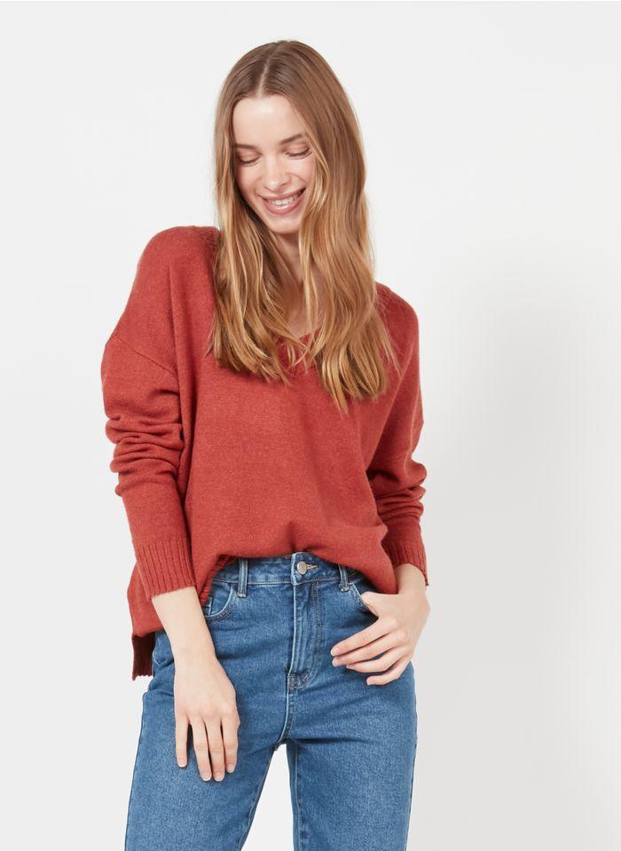 VILA Strick-Mix-Pullover mit V-Ausschnitt in Rot